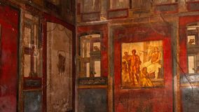 Pompeii, the best preserved archaeological site in the world, Italy. Frescoes on the interior wall at home destroyed by eruption. Pompeii, the best preserved stock video