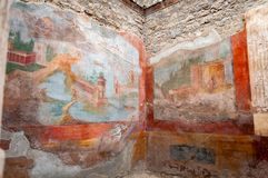 Pompeii, the best preserved archaeological site in the world, Italy. Interior of the House of the Small Fountain, Frescoes on the stock photography
