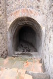 Pompeii. Entrance to an ancient Roman cellar, Villa of the Mysteries, Pompeii, Italy royalty free stock photography