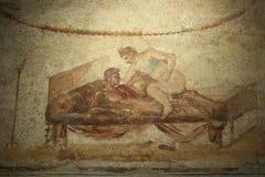 Pompeii fresco, Naples (Italy) stock photography