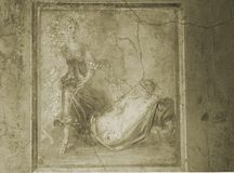 Pompeii Fresco in Sepia Royalty Free Stock Photo