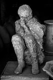 Pompeii human victim. Black and white human victim body cast from Pompeii Stock Photos
