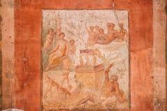 Pompeii, Italie Fresques antiques dans le mur du vieux bâtiment image libre de droits
