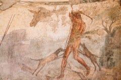 Pompeii, Italie Fresques antiques dans le mur du vieux bâtiment photo libre de droits