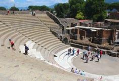 Pompeii Italien - 2015-06-26 fördärvar i Pompeii, når det har begravts av vulkan i 79AD i Italien, Europa arkivfoton