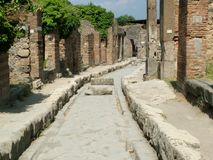 Pompeii, Italy. Chariot road in Pompeii, Italy Stock Images
