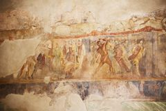 Fresco paintings on ancient Roman walls Royalty Free Stock Photo