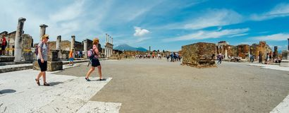 Ancient ruins of the forum in pompeii Stock Photography