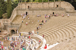 POMPEII, ITALY. SEPTEMBER 1: tourists visit Pompeii - an ancient Roman city that was ruined from the eruption of Mount Vesuvius in 79 AD. Italy, Pompeii, sep Royalty Free Stock Photography