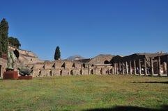 Pompeii, Italy. Vesuvius Volcano is seeing on background of Pompeii royalty free stock photo