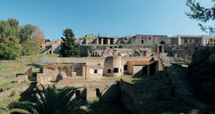 Pompeii, Italy. View Of Pompeii Archaeological Park In Sunny Day. UNESCO World Heritage Site.  stock footage