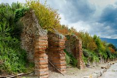 Pompeii landscape. View on ancient wall surrounding the lost city of Pompeii, Italy Stock Photography