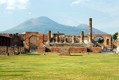Pompeii and Mount Vesuvius. Beautiful view of Pompeii and Mount Vesuvius