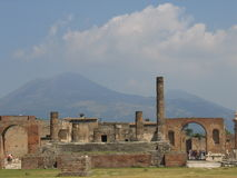 Pompeii and Mount Vesuvius in the back Royalty Free Stock Photo