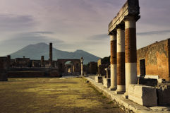 Pompeii and Mount Vesuvius in Italy Royalty Free Stock Images