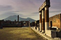 Pompeii and Mount Vesuvius in Italy. Antique site of Pompeii and Mount Vesuvius in Italy Royalty Free Stock Images