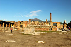 Pompeii and Mount Vesuvius in Italy before sunset. Photo taken in Pompeii with on the background the notorious Mount Vesuvius in Campania, Italy Stock Photos