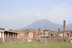 Pompeii overlooked by Vesuvius Royalty Free Stock Image