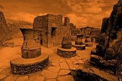 Pompeii ruins - artistic version. Pompeii ruins after the eruption of Vesuvius, Italy, Europe Royalty Free Stock Photos
