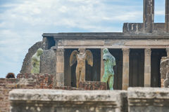 Pompeii ruins after the eruption of Vesuvius at Pompeii, Italy on June 01, 2016 Stock Images