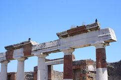 Pompeii ruins near volcano Vesuvius Royalty Free Stock Photos