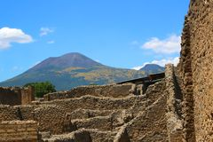 Pompeii ruins and Vesuvius Stock Photography
