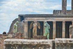 Pompeii ruiny po erupci Vesuvius przy Pompeii, Włochy na Czerwu 01, 2016 Obrazy Stock