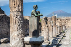 Pompeii Temple and Vesuvius Stock Photos