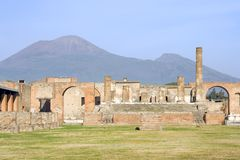 Pompeii and Vesuvius Stock Photography