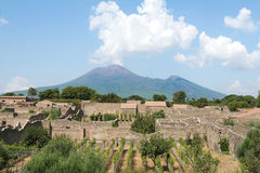Pompeii and Vesuvius Royalty Free Stock Image
