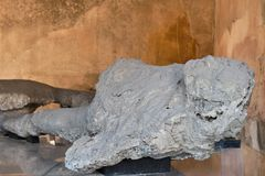 Pompeii victims covered by volcanic ash. Italy stock photo