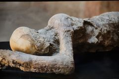 Pompeii victims covered by volcanic ash. Pompeii victims buried by volcanic ash, Pompeii destroyed by the eruption of Vesuvius in 79 BC stock image