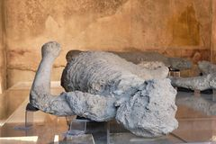 Pompeii victims covered by volcanic ash. Italy stock photos