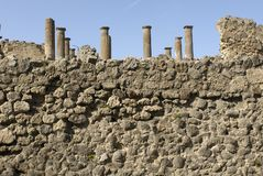 Pompeii wall and columnes royalty free stock photography
