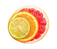 Pompelmo, arancia e calce isolati su fondo bianco Fetta rotonda di pompelmo, di arancia e di calce succosi e freschi Fotografie Stock