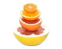 Pompelmoes, grapefruit, sinaasappel, mandarijn Stock Afbeeldingen