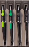 Pompes à essence ou distributeurs en gaz images stock