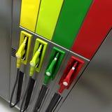 Pompes à gaz avec les étiquettes blanc Image stock