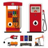 Pompes à gaz et icônes plates d'industrie pétrolière  Photos stock