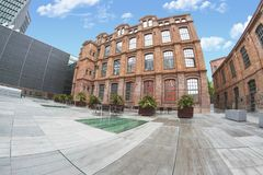 Pompeu Fabra University in Barcelona, outdoors shot of the facade. Erasmus in Europe and education concept with empty copy space. Pompeu Fabra University in stock photo