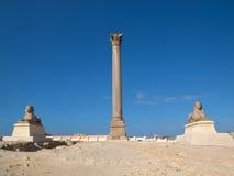 Pompey` s Pijler in Alexandrië Stock Afbeelding