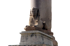 Pompey`s pillar in Alexandria. Isolated over white background, close-up Stock Photos
