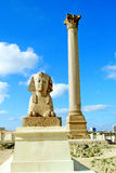Pompey's Pillar in Alexandria, Egypt. The Sphinx and Pompey's Pillar in Alexandria, Egypt Stock Image