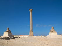Pompey`s Pillar in Alexandria. Pompey Pillar - Roman ancient monuments in Alexandria (Egypt stock image