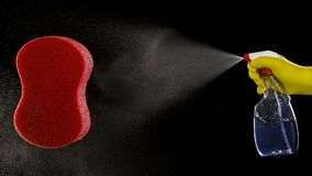 Pompez le pulvérisateur et le citron et l'éponge rouge pour le lavage Image libre de droits