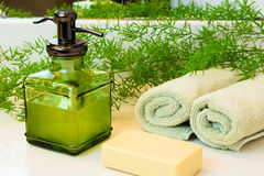 Pompfles met vloeibare zeep, barzeep, handdoeken en greens op knuppel Royalty-vrije Stock Afbeelding