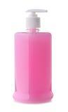 Pompfles van roze vloeibare zeep Stock Foto's