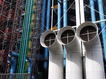 Pompidou Museum, Paris, France. Details of chimneys of Georges Pompidou Museum Royalty Free Stock Images