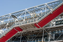 Pompidou red stairs. The building of Pompidou center in Paris, France royalty free stock image