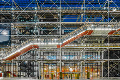 Pompidouen centrerar museumbeaubourgparis cityscape Frankrike Arkivbilder
